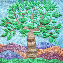 "Family Tree Quilt 36"" X 36"" Hand painted silk"