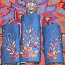 The five covers echo the burning bush motif of the ark itself. (Temple Israel main sanctuary)