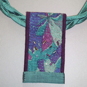 Hand embroidered choker necklace. Japanese cotton and silk